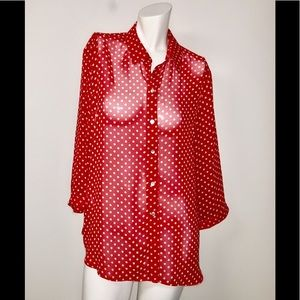 Chico's Cute red polka dot sheer work casual#43A